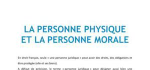 Droit : La personne physique et la personne morale