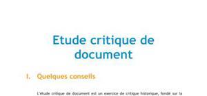 Etude critique de document histoire - Concours Sciences po