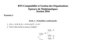 Corrigé Sujet Mathématiques BTS CGO 2016