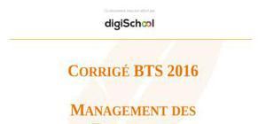 Corrigé Sujet Management des Entreprises BTS 2016