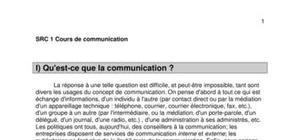 Cours de Communication - 1iere année de Service et Réseaux de communication / Multimedia