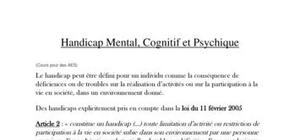 Les différents handicaps : Mental, psychique et cognitif