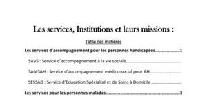 Les services, Institutions et leurs missions pour les personnes en difficultés