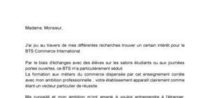 Lettre Projet de formation motivé - BTS Commerce International