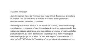 Lettre de motivation Parcoursup - PACES