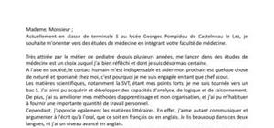Lettre de motivation Parcoursup - Formation PACES