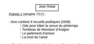 """Lecture analytique Jean Ristat (Poème 1, recueil poétique """"La mort de l'aimé"""""""