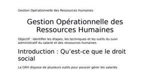 Cours de Gestion Opérationnelle des ressources humaines 2ème année du DUT GEA