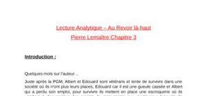 Lecture analytique chap 3 - Au Revoir là-haut de Pierre Lemaître