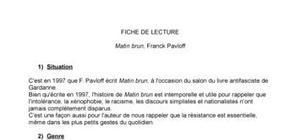Fiche de lecture : Matin brun, Franck Pavloff