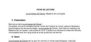 Fiche de lecture : La princesse de Clèves, Madame de La Fayette