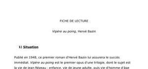 Fiche de lecture : Vipère au poing, Hervé Bazin