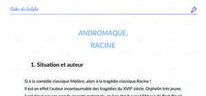 Fiche de lecture - Analyse : Andromaque, Racine