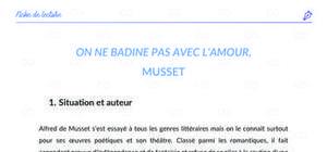 Fiche de lecture - Analyse : « On ne badine pas avec l'amour », Alfred de Musset