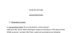Fiche de lecture : Le Journal d'Anne Franck - Analyse et résumé
