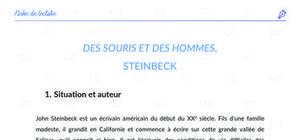 Fiche de lecture : Des souris et des Hommes de John Steinbeck - Analyse et résumé