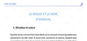 Fiche de lecture : Le Rouge et Le Noir de Stendhal - analyse et résumé
