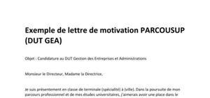 Modèle de Lettre de motivation Parcoursup - DUT GEA