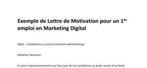 Modèle de Lettre de Motivation pour un 1er emploi en Marketing Digital