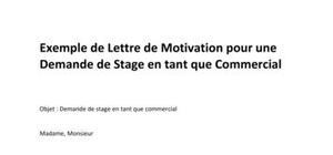 Exemple de Lettre de Motivation pour une Demande de Stage Commercial