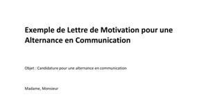 Modèle de Lettre de Motivation pour une Alternance en Communication
