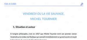 Fiche de lecture : Vendredi ou la vie sauvage de Michel - analyse et résumé