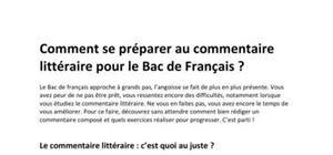 La préparation à l'épreuve du BAC de Français : Le commentaire composé