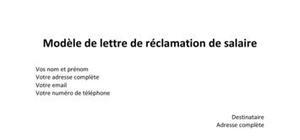 Modèle de lettre de réclamation de salaire