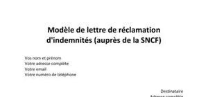 Modèle de lettre de réclamation à la SNCF