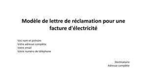 Modèle de lettre de réclamation pour une facture d'électricité