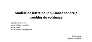 Modèle de lettre de contestation pour nuisance sonore et troubles du voisinage