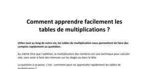 Comment apprendre facilement les tables de multiplications ?