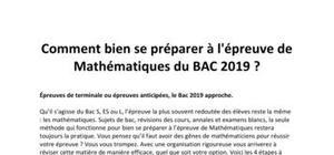 BAC 2019 : Comment bien se préparer à l'épreuve de Mathématiques  ?