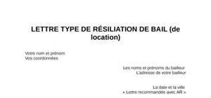 Exemple de lettre de résiliation de bail de location
