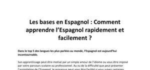 Les bases en Espagnol - Comment apprendre l'Anglais facilement et rapidement ?
