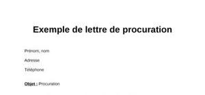 Exemple de lettre de procuration