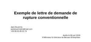 Exemple de lettre de rupture conventionnelle pour un contrat de travail