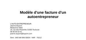 Exemple de Facture Auto Entrepreneur