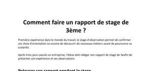 Exemple De Rapport De Stage De 3ème Collège
