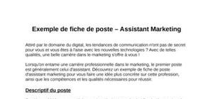 Exemple de fiche de poste pour un assistant marketing