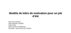 Lettre De Motivation Job D été