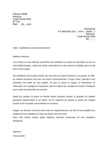 lettre de motivation brancardier Lettre De Motivation Brancardier | Job Application lettre de motivation brancardier