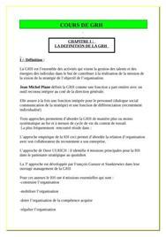 Cours de gestion ressources des humaines pdf
